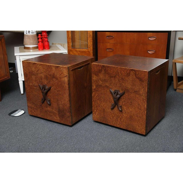 Image of Unique Exotic Burl Romweber Night Tables / Side Tables