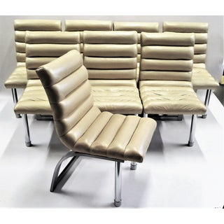 """EIGHT Jay Spectre Modern """" Eclipse """" Leather Dining Chairs by Century for Bloomingdale's 1986"""