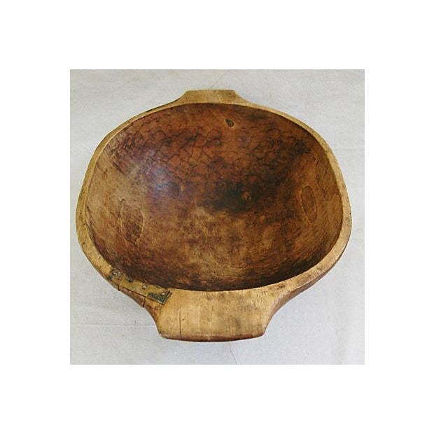 Image of Large French Carved Harvest Dough Bowl Centerpiece