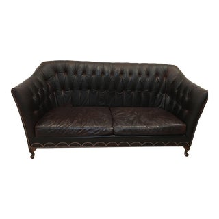 Horchow Chesterfield Brown Leather Couch