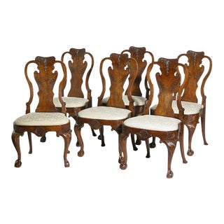 Set of Six Carved Walnut Queen Anne Side Chairs