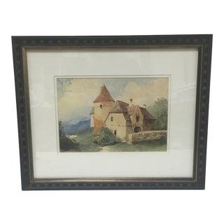 1846 French Farm & Silo Watercolor