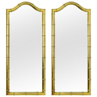 Pair of Drexel Mirrors in Faux Bamboo with Gold Leaf Finish