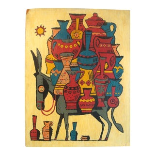 Southwestern Folk Art Painting Burro With Clay Pots