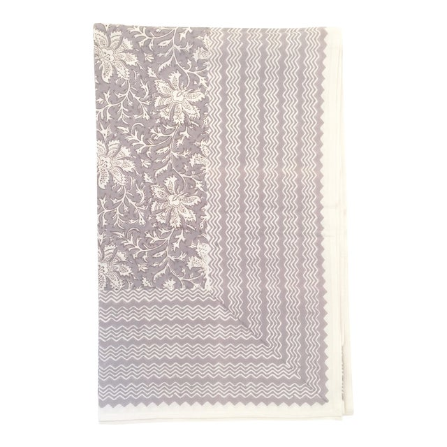 European Handmade Block Print Tablecloth - Image 1 of 5