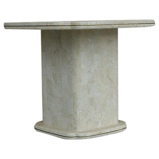70's Tessellated Stone & Brass Side Table