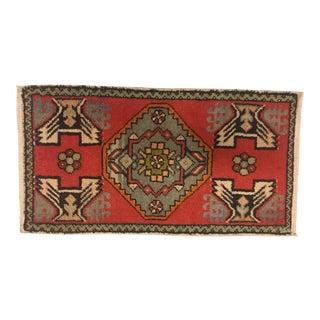 "Handmade Vintage Tribal Carpet - 1'8"" x 3'1"""