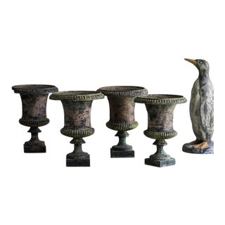 Set of Four Antique Italian Campana Style Cast Iron Urns circa 1875