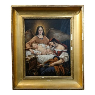 Mother With Baby & Archangel 19th Century Oil Painting