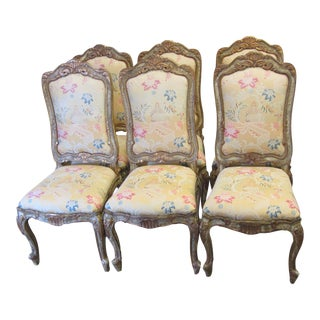 Louis XV Style Chinoiserie Gold Side Chairs - Set of 6