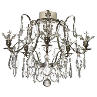 Baroque Nickel 5 Arm Flower Bathroom Chandelier