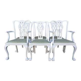 Antique White Lacquer Chippendale Dining Chairs - Set of 6