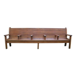 Long Wooden Oak Bench