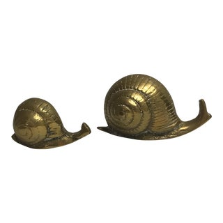 Vintage Solid Brass Snails - A Pair