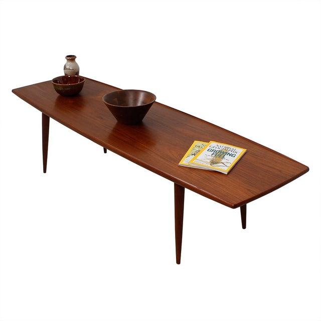 Long Danish Modern Teak Surfboard Coffee Table - Image 7 of 7
