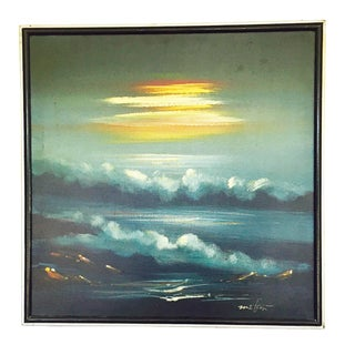 Vintage Night Seascape Oil Painting