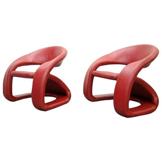 Memphis Milano Red Leather Cantilevered Chairs - A Pair