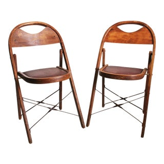 Vintage Bentwood Wood Folding Chairs - A Pair