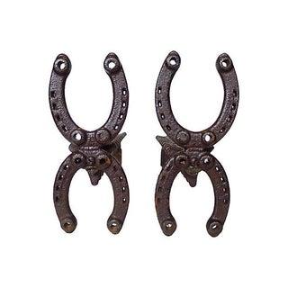 Vintage Horseshoe Andirons - A Pair