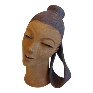 Vintage Mid Century Clay Lady's Head Sculpture