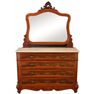 French Rococo Louis XV Style Marble Top Chest with Mirror