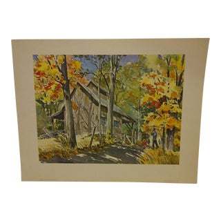 Vintage Sugarshed Berkshire Mountains Massachusetts United Airlines Print