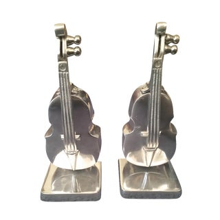 Silver Metal Mid-Century Bookends - A Pair