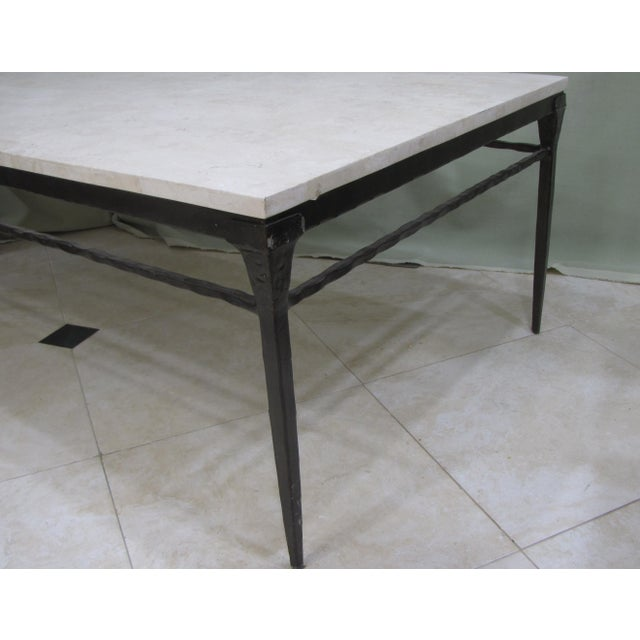 Bernhardt Wrought Iron Natural Stone Coffee Table - Image 3 of 4
