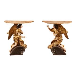 18th Century Italian Baroque Basilica Angel Tables