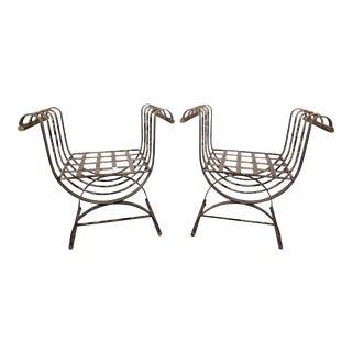 Metal Garden Benches - A Pair