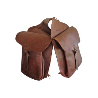 Vintage Leather Mail Saddlebags - A Pair