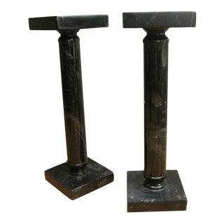 Vintage Black Marble Pedestal Columns - A Pair