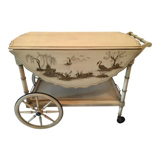 Vintage Chinoiserie Drop Leaf Tea Cart