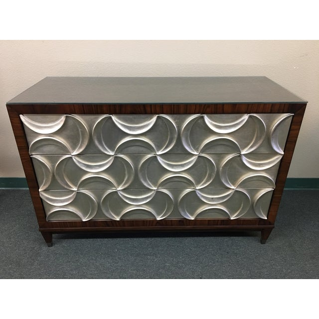 Caracole Rosewood & Silver Tie One On Three Drawer Chest - Image 2 of 11