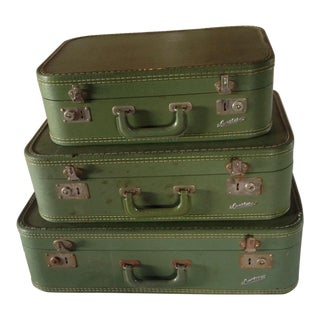 Set of Three Green Vintage Suitcases