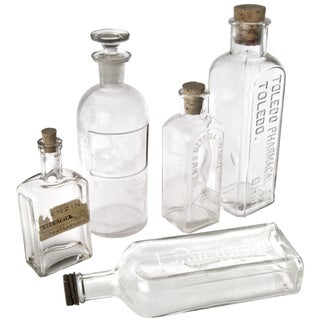 Vintage Clear Glass Bottles - Set of 5