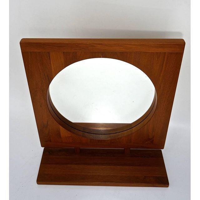 Danish Teak Table Mirror with Shelf - Image 5 of 7