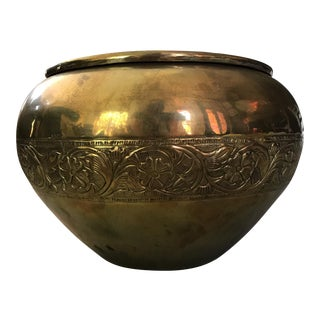Embossed Brass Planter Pot