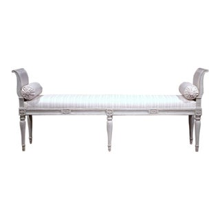 19th Century French Louis Phlippe Carved Painted Banquette
