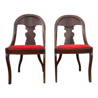 Empire Style Mahogany Side Chairs - a Pair