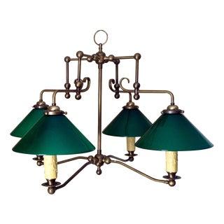Antique Brass & Green Glass Billiard Light
