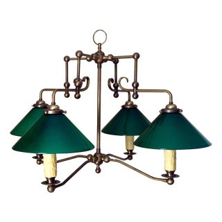 Antique Brass & Green Glass Billiard Light