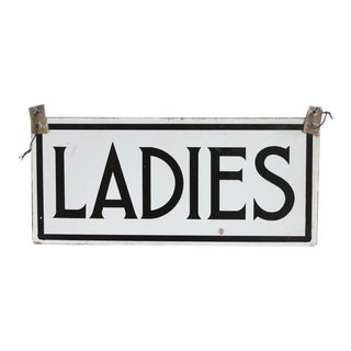 """1930's Porcelain Double Sided Sign """" Ladies """""""