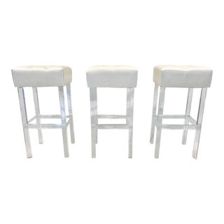 White Lucite Acrylic Barstools - Set of 3