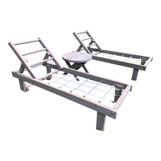 Outdoor Chaise Lounges & Side Table - Set of 3