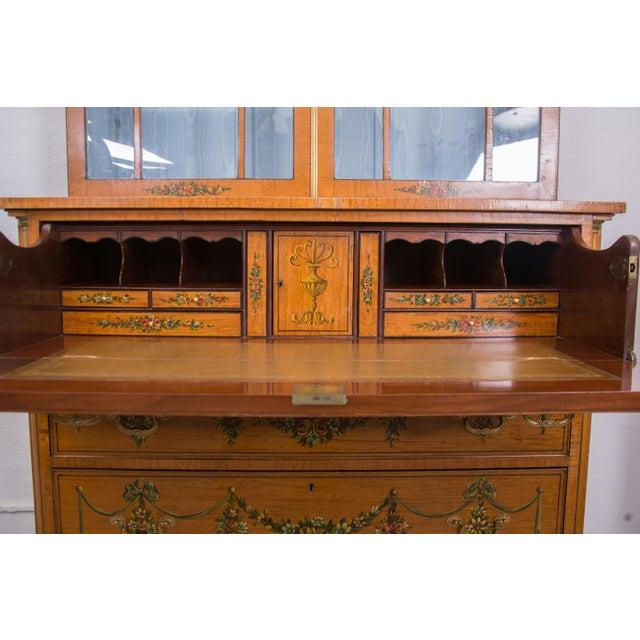 English Adams Style Painted Satinwood Secretary - Image 2 of 10