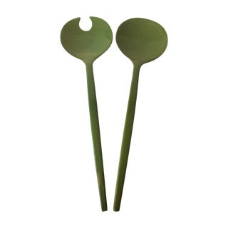 1960's MCM Lacquer Avocado Green Salad Serving Set