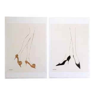 "Andy Warhol Fine Art Lithograph Prints ""High Heels Shoes"", 1957 - A Pair"