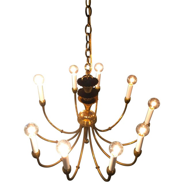 Mid-Century Modern Brass Chandelier in the Manner of Tommi Parzinger - Image 3 of 6