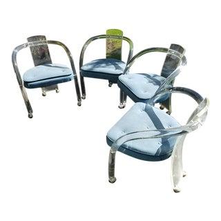 Charles Hollis Jones Bent Lucite Armchairs - Set of 4